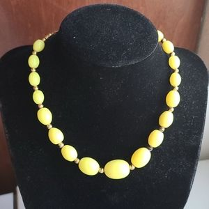 Vintage Neon Yellow Beaded Choker Necklace